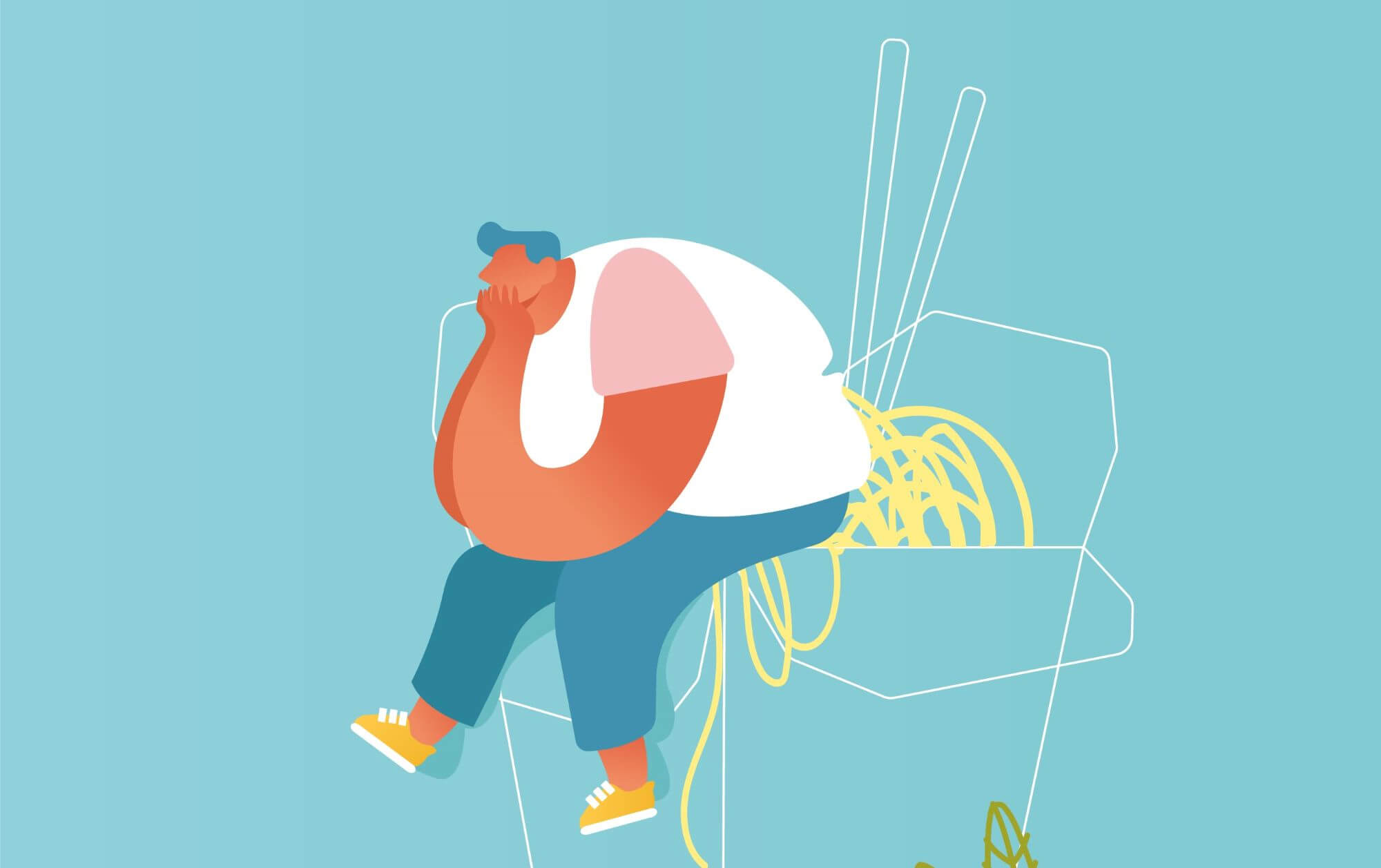 man sitting on junk-food and thinking